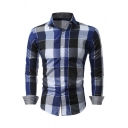 Fashionable Plaid Print Lapel Button Down Long Sleeve Shirt