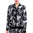Cool Skull Pattern Long Sleeves Zippered Monochrome Jacket with Pockets