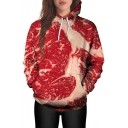 Hot Fashion Meat Beef Printed Long Sleeves Pullover Hoodie with Pocket