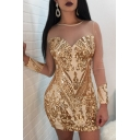 Party Style Patchwork Mesh Sleeves Round Neck Sequined Mini Bodycon Dress