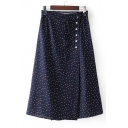 Trendy Polka Dotted Drawstring Waist Wrap Midi Skirt with Buttons