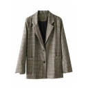 Retro Fashion Notched Lapel Long Sleeves Double-Button Loose Blazer with Pockets