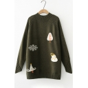 Chic Snowman Tree Print Long Sleeve Round Neck Pullover Sweater