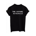 Simple Letter Printed Round Neck Short Sleeves Summer T-shirt Top
