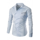 New Stylish Simple Plain Lapel Long Sleeve Single Breasted Shirt