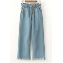 Casual Elastic Waist Button Fly Ripped Hem Pockets Wide Leg Jeans