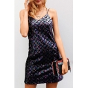 Summer Collection Diamond Plaids Spaghetti Straps Cross Back Sequined Cami Mini Dress