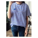 Loose Casual Striped Pattern Round Neck Short Sleeves Summer Tee