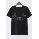 Fashionable Hands Letter Graphic Printed Round Neck Short Sleeves Summer T-shirt