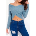 Spring Collection Off the Shoulder Wrap Front Long Sleeves Cropped Sweater