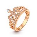 Trendy Diamond Jewel Studded Crown Shaped Medium Shank Ring