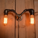 Industrial Vintage 2 Light Multi Light Wall Sconce in Open Bulb Style, 13''W, Black