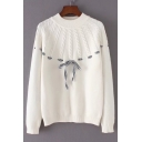 Stylish Cable Knitted Bow Tie Front Round Neck Long Sleeves Pullover Sweater