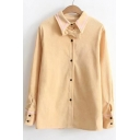 Popular Bow Tie Point Collar Long Sleeves Button Down Women's Shirt