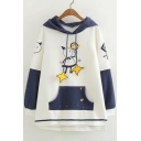 Cute Cartoon Letter Color Block Print Long Sleeve Dip Hem Hoodie with Pocket