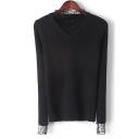 New Stylish Mesh Panel Long Sleeve Pullover Sweater