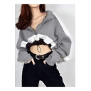 Pop Color Block High Neck Zip-Front Drawstring Waist Loose Cropped Hoodie
