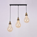 Industrial Simple Multi Light Pendant with Teardrop Glass Shade, 3 Light