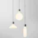 Industrial Multi Light Pendant with White Glass Shade in Nordical Style, 3 Light