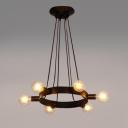 Industrial 6 Light Multi Light Pendant in Open Bulb Style, Black
