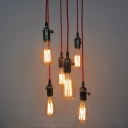 Industrial Simple 6 Light Multi Light Pendant in Open Bulb Style