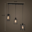 Industrial 20''W Multi Light Pendant with Metal Cage in Black, 3 Light