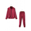 Party Style Reflective Fabric Striped Zippered Long Sleeves Drawstring Waist Co-ords