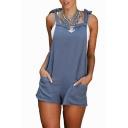 Summer Fashion Bow Tie V-Back Double Pockets Mini Plain Overall Shorts
