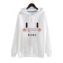 Funny Shy Face Meme Emoji Japanese Character Printed Long Sleeves Pullover Hoodie