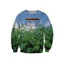 Chic Letter Plant Print Round Neck Pullover Sweatshirt for Couple