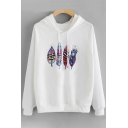 Stylish Feather Printed Long Sleeves Pullover Leisure Hoodie