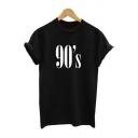 Stylish Letter Printed Round Neck Short Sleeves Summer T-shirt