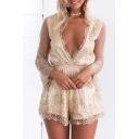 Spring Collection Plunge Neck Sequined Mesh Patchwork High Waist Shorts Romper