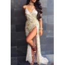 Elegant Sequined Embellished Halter Neck Open Back Low-cut Maxi Dress