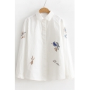 Bird Floral Embroidered Long Sleeve Lapel Long Sleeve Shirt