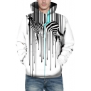 Popular Zebra Striped Printed Long Sleeves Pullover Hoodie with Pocket