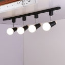 Industrial 4 Light Semi-Flush Ceiling Light in Open Bulb Style, Black