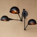 Industrial Vintage 3 Light Multi Light Wall Sconce with Bowl Metal Shade in Black
