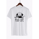 Cute Puppy Dog Letter Printed Round Neck Short Sleeves Casual Tee