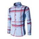 Classic Plaid Print Single Breasted Lapel Long Sleeve Shirt