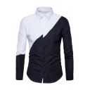 New Stylish Color Block Print Long Sleeve Lapel Button Down Shirt