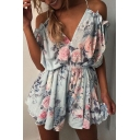 Ladylike Spaghetti Straps Floral Pattern Hollow Tie-Back Culotte Romper
