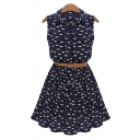 Fashion Repetitive Cartoon Print Lapel Button Tank Dress