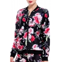 Fancy Floral Printed Long Sleeves Zippered Jacket with Pockets