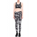 Gothic Skull Pattern Monochrome Scoop Neck Cropped Tank with High Waist Workout Pants