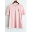Women's Fashion Rabbit Embroidery Round Neck Short Sleeves Casual Tee
