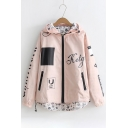 Chic Letter Hammer Print Long Sleeve Zipper Dip Hem Reversible Hooded Coat