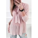 Simple Plain Bow Front Long Sleeve Pleated Tunic Blouse