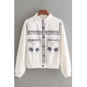 Fashionable Embroidered Pattern Lapel Single Breasted Long Sleeve Denim Jacket