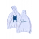 Simple Letter Printed Long Sleeves Pullover Hoodie with Pocket